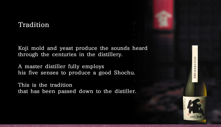 Tradition Koji mold and yeast produce the sounds heard through the centuries in the distillery. A master distiller fully employs his five senses to produce a good Shochu. This is the tradition that has been passed down to the distiller.